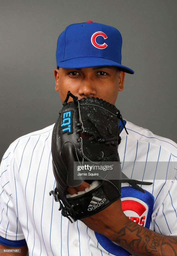 Pedro Strop #46 of the Chicago Cubs poses during Chicago Cubs Photo Day on February 21, 2017 in Mesa, Arizona.