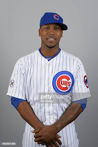 Pedro Strop of the Chicago Cubs poses during Photo Day on Monday March 2 2015 at Sloan Park in Mesa Arizona