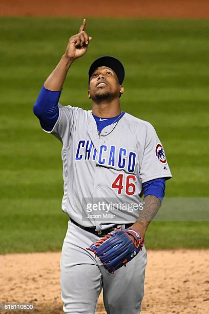 Pedro Strop of the Chicago Cubs reacts after being relieved during the seventh inning against the Cleveland Indians in Game One of the 2016 World...
