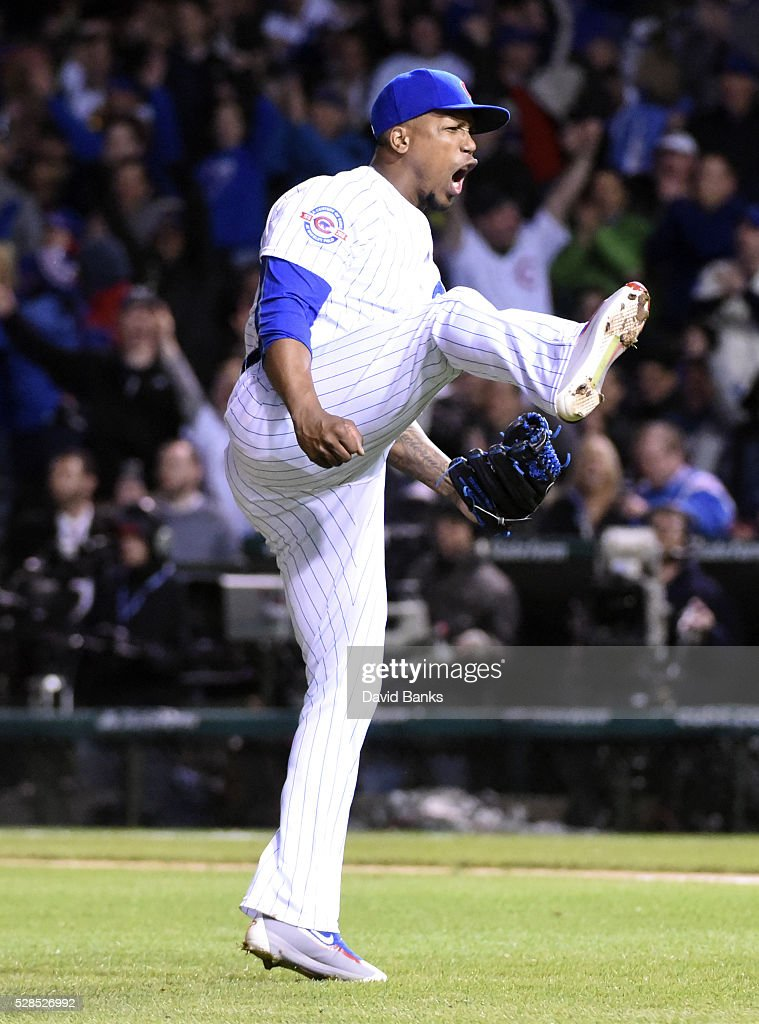 Pedro Strop #46 of the Chicago Cubs reacts after getting Anthony Rendon #6 of the Washington Nationals to hit into a double play during the eighth inning on May 5, 2016 at Wrigley Field in Chicago, Illinois.