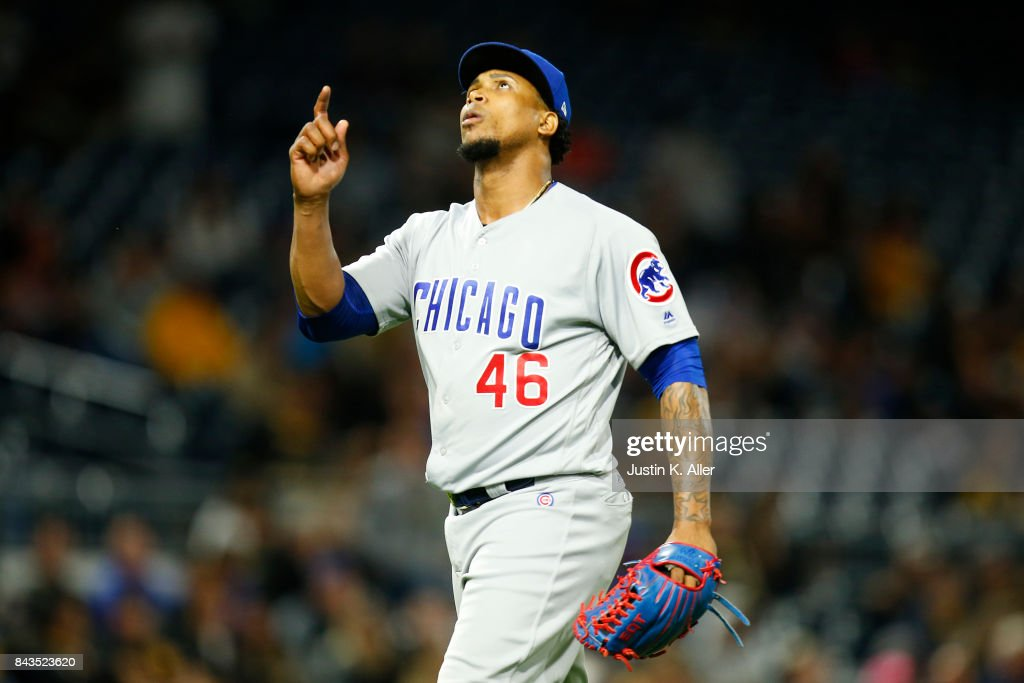 Pedro Strop #46 of the Chicago Cubs reacts after getting out of the eighth inning against the Pittsburgh Pirates at PNC Park on September 6, 2017 in Pittsburgh, Pennsylvania.