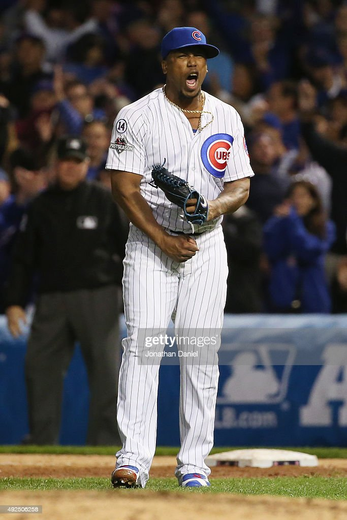 Pedro Strop #46 of the Chicago Cubs reacts after recording the final out in the eighth inning against the St. Louis Cardinals during game four of the National League Division Series at Wrigley Field on October 13, 2015 in Chicago, Illinois.