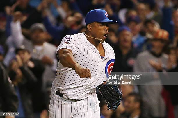 Pedro Strop of the Chicago Cubs reacts after recording the final out in the eighth inning against the St Louis Cardinals during game four of the...