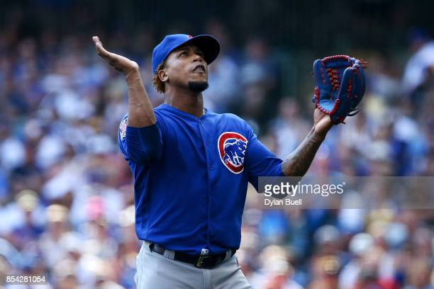 Pedro Strop of the Chicago Cubs reacts after the eighth inning against the Milwaukee Brewers at Miller Park on September 23 2017 in Milwaukee...