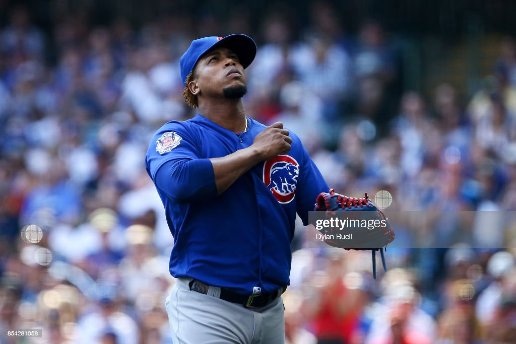 Pedro Strop #46 of the Chicago Cubs reacts after the eighth inning against the Milwaukee Brewers at Miller Park on September 23, 2017 in Milwaukee, Wisconsin.