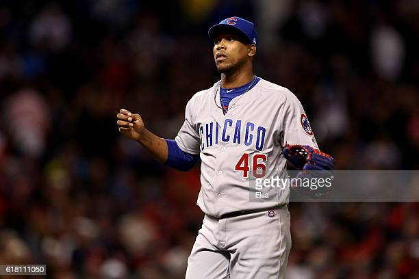 Pedro Strop of the Chicago Cubs reacts during the sixth inning against the Cleveland Indians in Game One of the 2016 World Series at Progressive...