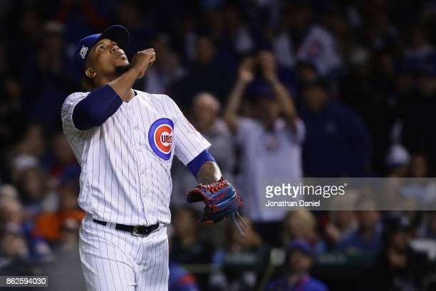 Pedro Strop of the Chicago Cubs reacts in the seventh inning against the Los Angeles Dodgers during game three of the National League Championship...