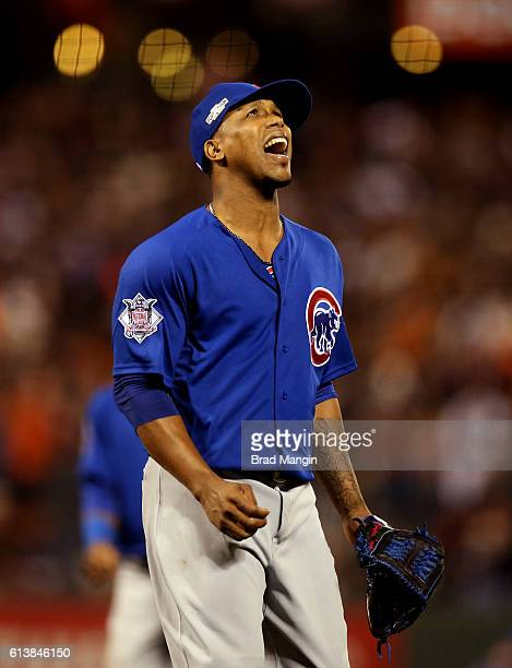 Pedro Strop of the Chicago Cubs reacts to being taken out of the game during Game 3 of NLDS against t the San Francisco Giants at ATT Park on Monday...
