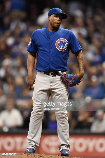 Pedro Strop of the Chicago Cubs throws a pitch during a game against the Milwaukee Brewers at Miller Park on April 8 2017 in Milwaukee Wisconsin The...