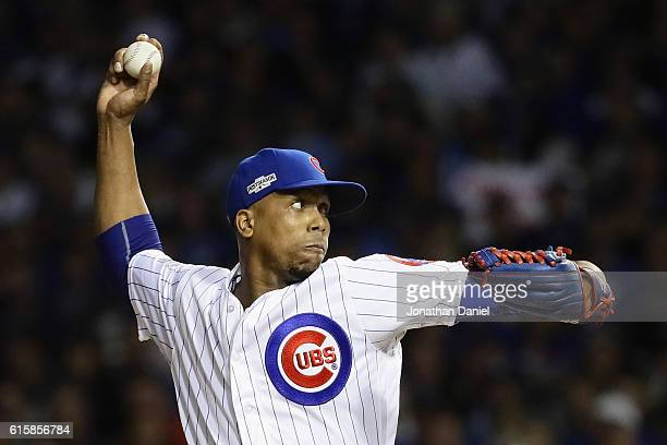 Pedro Strop of the Chicago Cubs throws a pitch during game one of the National League Championship Series against the Los Angeles Dodgers at Wrigley...