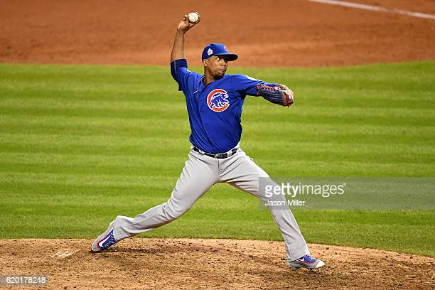 Pedro Strop of the Chicago Cubs throws a pitch during the ninth inning against the Cleveland Indians in Game Six of the 2016 World Series at...