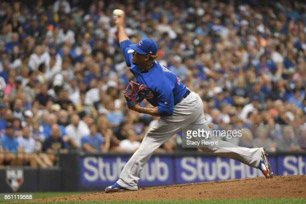 Pedro Strop of the Chicago Cubs throws a pitch during the seventh inning of a game against the Milwaukee Brewers at Miller Park on September 21 2017...