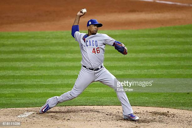 Pedro Strop of the Chicago Cubs throws a pitch during the sixth inning against the Cleveland Indians in Game One of the 2016 World Series at...