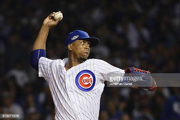 Pedro Strop of the Chicago Cubs throws a pitch in the eighth inning against the Los Angeles Dodgers during game two of the National League...
