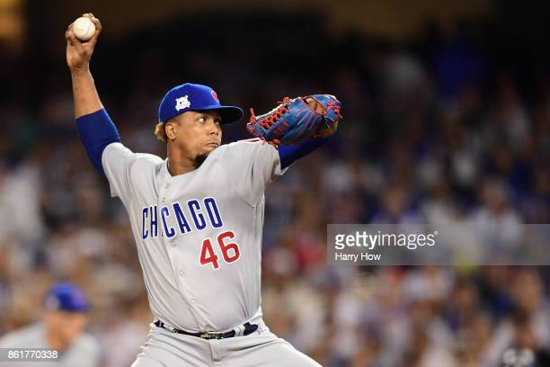 Pedro Strop of the Chicago Cubs throws a pitch in the seventh inning against the Los Angeles Dodgers during game two of the National League...