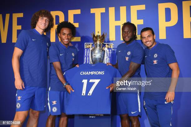 Pedro Willian Victor Moses and David Luiz of Chelsea print a Champions shirt during a Nike Store visit at the Solana Bay on July 20 2017 in Beijing...