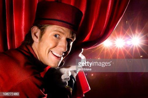Peeking at the stage : Stock Photo