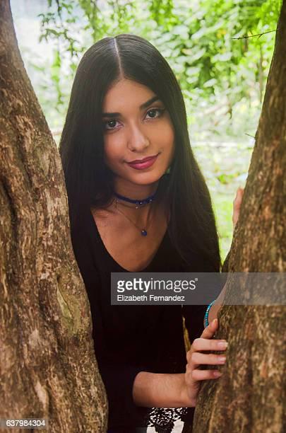Peeking behind the tree