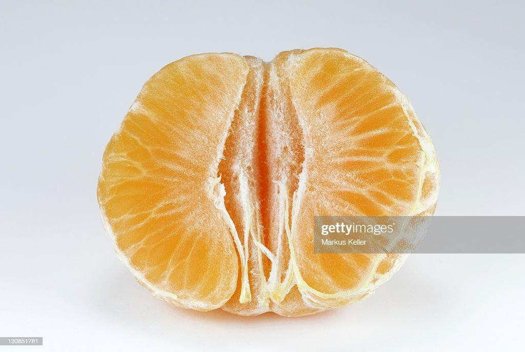 A peeled clementine (Citrus × aurantium)