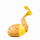Peeled Potato on white Background