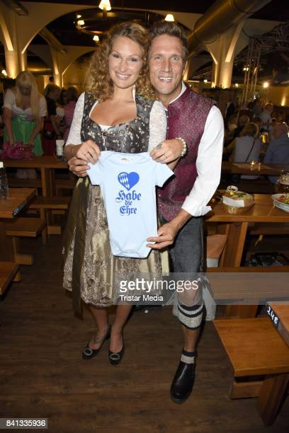 Peer Kusmagk and his girlfriend Janni Hoenscheid during the Angermaier TrachtenNacht at Hofbraeuhaus on August 31 2017 in Berlin Germany