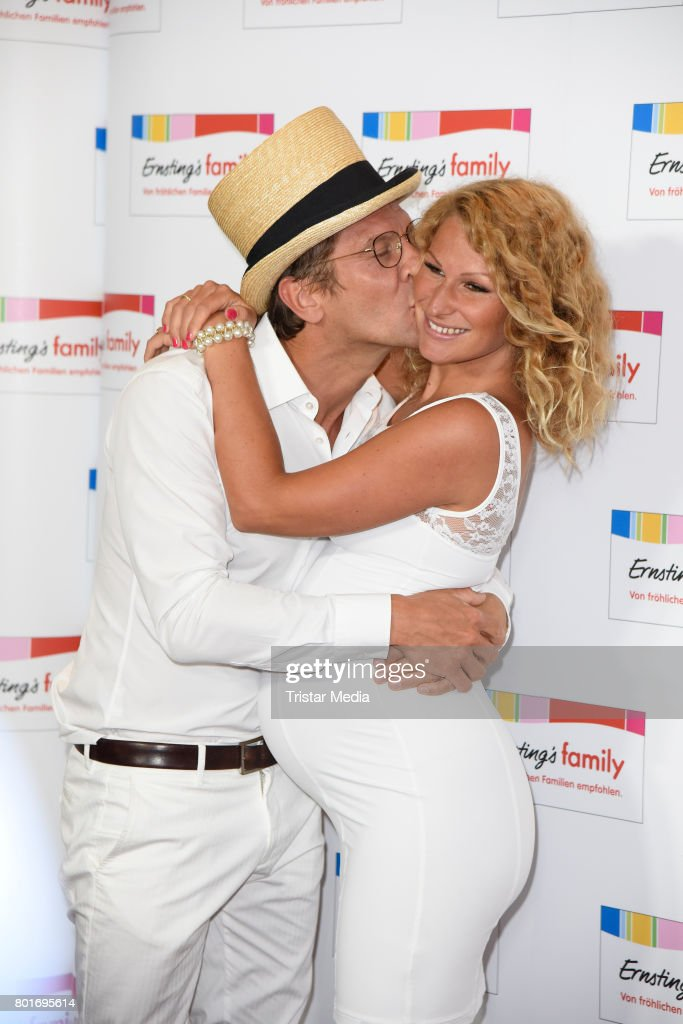 Peer Kusmagk and his pregnant girlfriend Janni Hoenscheid attend the Ernsting's Family Fashion Show at Stage Operettenhaus on June 26, 2017 in Hamburg, Germany.