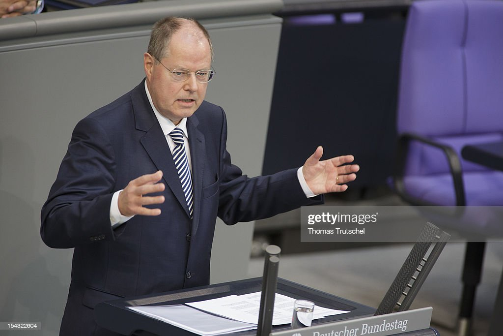 Peer Steinbrueck, Chancellor candidate of the German Social Democrats (SPD) for the 2013 general election speak at Reichstag, the seat of the German Parliament (Bundestag), on October 18, 2012 in Berlin, Germany. European Union leaders are expected to focus on economic and monetary policies as they gather for the two-day Autumn meeting starting today in Brussels.