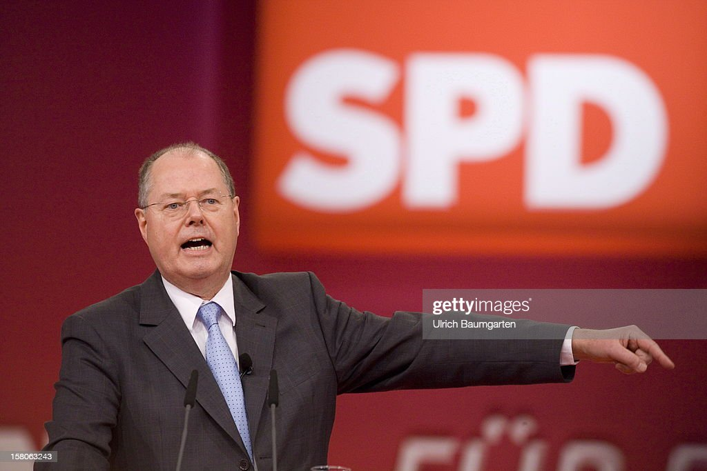 Peer Steinbrueck, chancellor candidate of the German Social Democrats (SPD), during his speech at the SPD federal party convention on December 9, 2012 in Hanover, Germany. The SPD is convening to set its policy course for the next year and to celebrate Steinbrueck, who will run for chancellor in elections set for 2013.