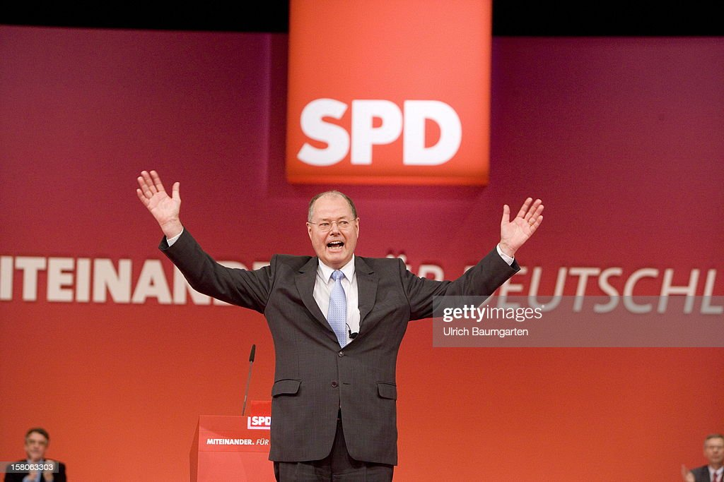 <a gi-track='captionPersonalityLinkClicked' href=/galleries/search?phrase=Peer+Steinbrueck&family=editorial&specificpeople=209110 ng-click='$event.stopPropagation()'>Peer Steinbrueck</a>, chancellor candidate of the German Social Democrats (SPD), after his speech at the SPD federal party convention on December 9, 2012 in Hanover, Germany. The SPD is convening to set its policy course for the next year and to celebrate Steinbrueck, who will run for chancellor in elections set for 2013.
