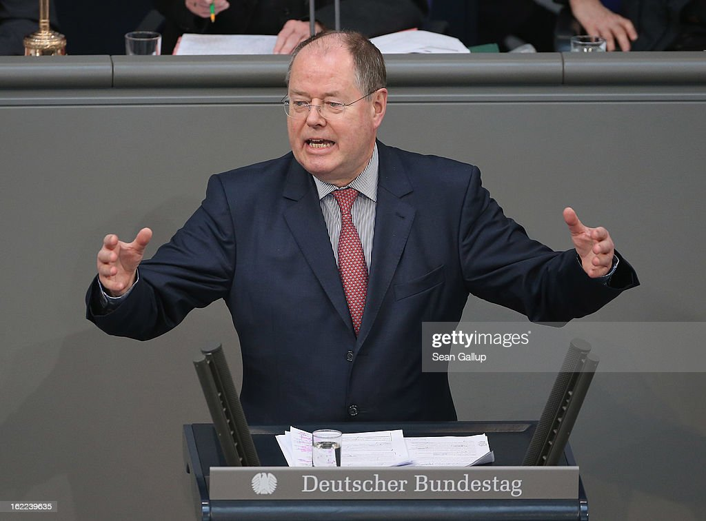 Peer Steinbrueck, chancellor candidate of the German Social Democrats (SPD) speaks after German Chancellor Angela Merkel gave a government declaration on the forthcoming European Union budget that was agreed upon at a summit in Brussels recently on February 21, 2013 in Berlin, Germany. The budget required wrangling and compromises and will give more money to economically-stricken member state.Germany faces federal elections later this year.