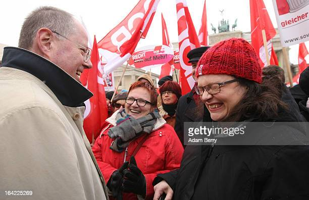 Peer Steinbrueck chancellor candidate of the German Social Democrats and Andrea Nahles general secretary of the SPD and SPD Bundestag member Elke...