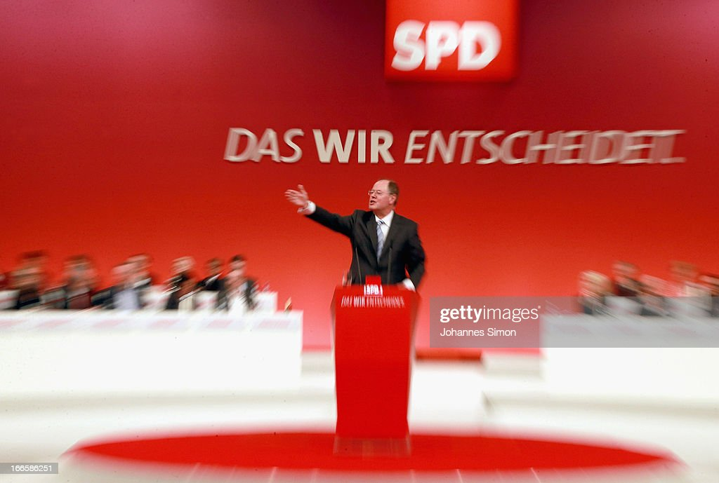 Peer Steinbrueck, chancellor candidate of the German Social Democrats (SPD), speaks at the SPD federal party congress on April 14, 2013 in Augsburg, Germany. Steinbrueck will face Chancellor and Christian Democrat (CDU) Angela Merkel in federal elections scheduled for September. So far Steinbrueck's ratings in the polls have lagged far behind those of Merkel following several comments and gaffes on Steinbrueck's part.