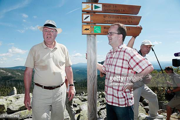 Peer Steinbrueck chancellor candidate of the German Social Democrats and Markus Rinderspacher head of the Bavarian SPD hike up to the summit of Lusen...