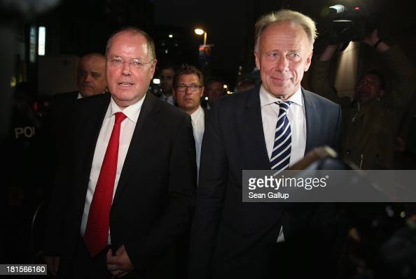 Peer Steinbrueck chancellor candidate of the German Social Democrats and Juergen Trittin colead candidate of the German Greens Party arrive for the...