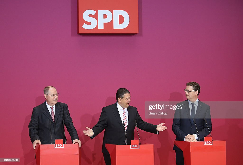 Peer Steinbrueck chancellor candidate of the German Social Democrats SPD Chairman Sigmar Gabriel and SPD lead candidate in elections in Hesse...