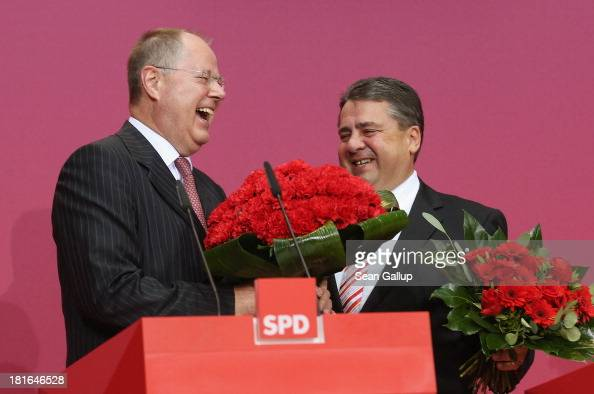 Peer Steinbrueck chancellor candidate of the German Social Democrats and SPD Chairman Sigmar Gabriel speak to the media on the first day after German...