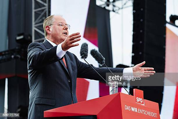 Peer Steinbrueck SPD chancellor candidate holds a speech during the anniversary of the 150 years of the SPD Party celebrated at the Brandenburger...
