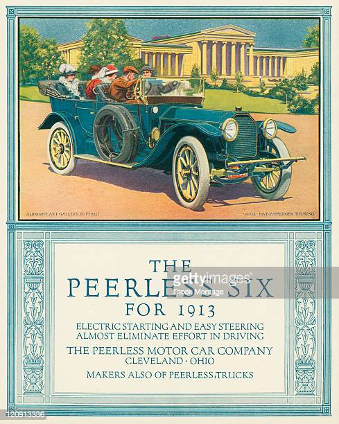 A Peerless 38Six touring automobile is pictured in a magazine advertisement from 1913 The car shown in Buffalo New York has four passengers and a...