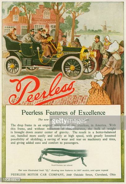 A Peerless automobile is shown in a magazine advertisement from 1907 All four people seated inside the car are wearing hats and long coats