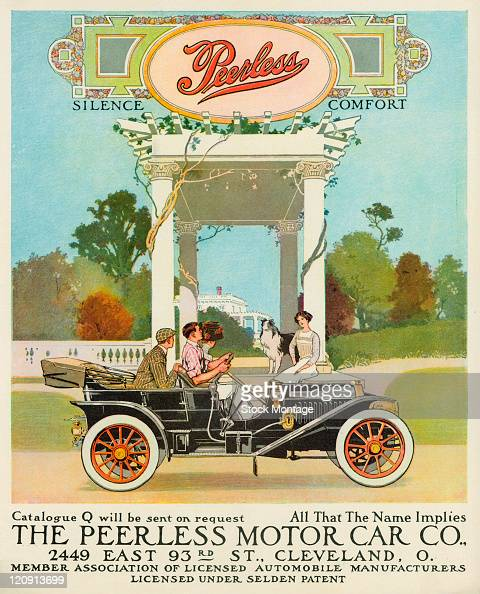A Peerless automobile is shown in a magazine advertisement from 1910 The occupants of the car two young men and a woman appear to be talking to a...