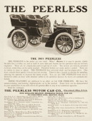 A Peerless motorcar is shown in a magazine advertisement from 1903 The ad states 'You can run the Peerless from two to thirtyfive miles an hour with...