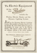 A Peerless sevenpassenger touring car that has an electric starter is shown in a magazine advertisement from 1912