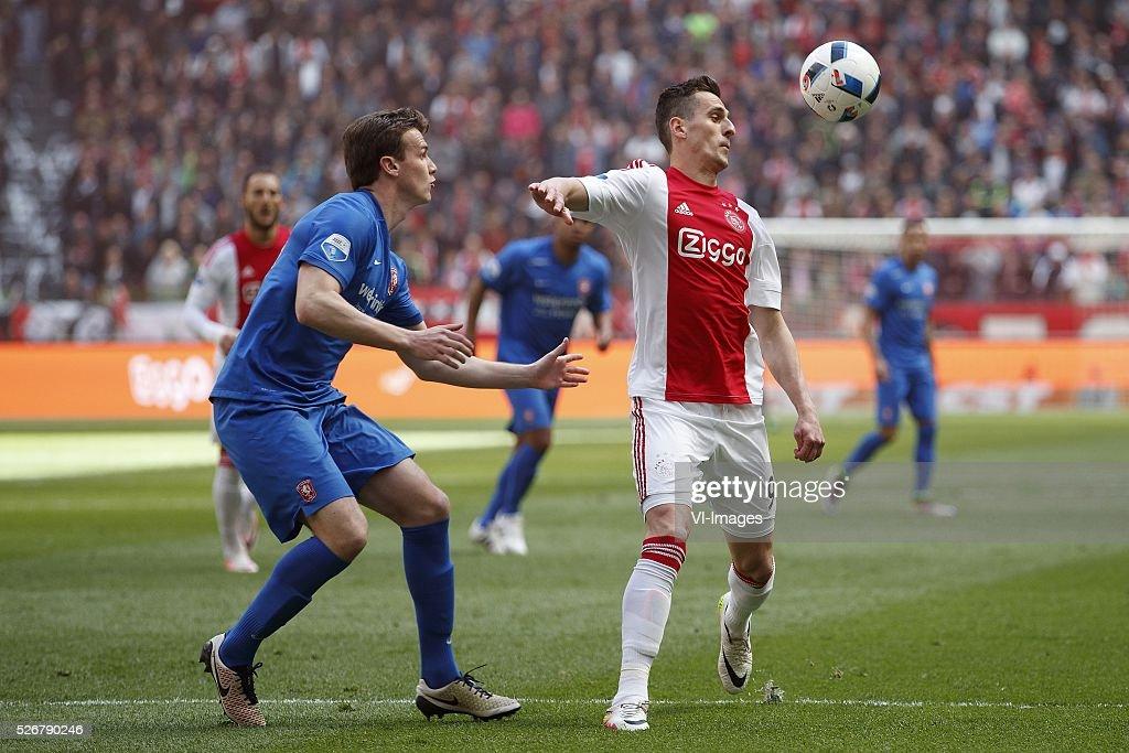Peet Bijen of FC Twente, Arek Milik of Ajax during the Dutch Eredivisie match between Ajax Amsterdam and FC Twente at the Amsterdam Arena on May 01, 2016 in Amsterdam, The Netherlands