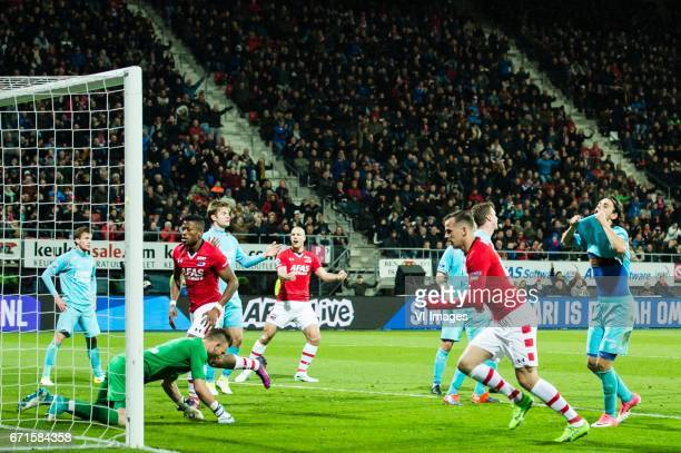 Peet Bijen of FC Twente scores an own goal Hidde ter Avest of FC Twente goalkeeper Nick Marsman of FC Twente Fred Friday of AZ Joachim Andersen of FC...