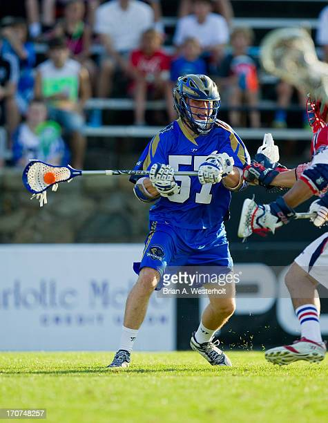 Peet Poillon of the Charlotte Hounds takes a shot on goal against the Boston Cannons at American Legion Memorial Stadium on June 15 2013 in Charlotte...