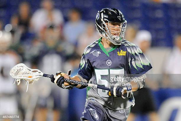 Peet Poillon of the Chesapeake Bayhawks looks to pass the ball during a Major League Lacrosse game against the Rochester Rattlers on July 17 2014 at...