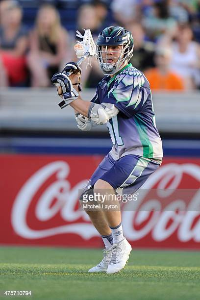 Peet Poillon of the Chesapeake Bayhawks looks to pass the ball during a MLL lacrosse game against the Rochester Rattlers at NavyMarine Corps Memorial...