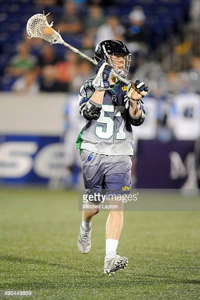 Peet Poillon of the Chesapeake Bayhawks looks to pass the ball during a MLL lacrosse game against the Ohio Machine on May 31 2014 at NavyMarine Corps...