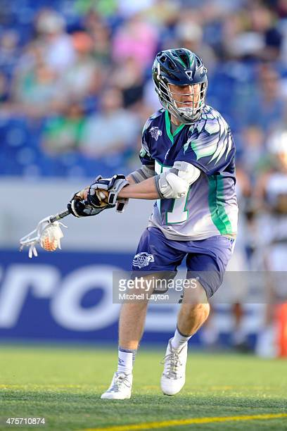 Peet Poillon of the Chesapeake Bayhawks looks to take a shot during a MLL lacrosse game against the Rochester Rattlers at NavyMarine Corps Memorial...