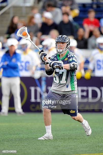 Peet Poillon of the Chesapeake Bayhawks passes the ball against the Florida Launch at NavyMarine Corps Memorial Stadium on May 17 2014 in Annapolis...